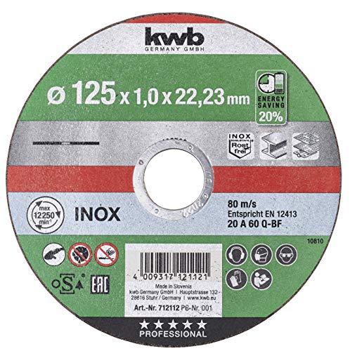 kwb 712112 AKKU-TOP extra dünne Trenn-Scheibe 125 mm Speed, 125 x 1,0 für Winkel-Schleifer, Flexscheibe geeignet für Edelstahl + Metall, Bohrung 22,23 mm, 125x1,0