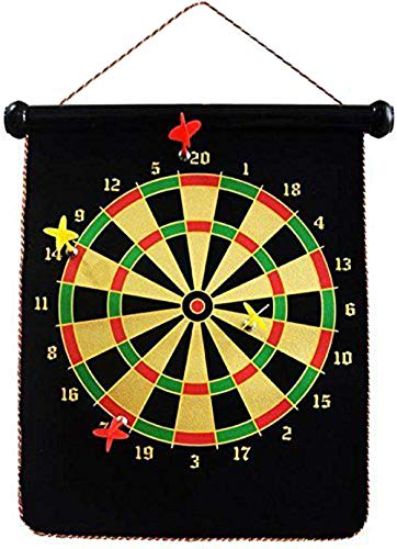 Krireen Magnetic Foldable Dart Board with Fabric Double Sided Hanging Dart Board with 6PCS Dart Flights for Kids and Adults, (Black)