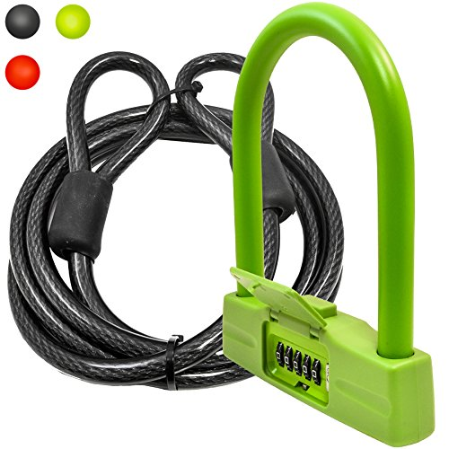 Lumintrail 18mm Heavy Duty 5-Digit Bicycle Bike Combination U-Lock - Assorted Colors (Green+7ft Cable)