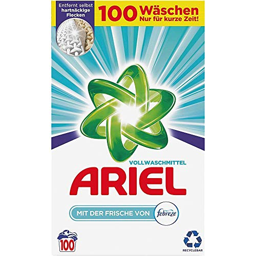 Ariel Vollwaschmittel mit der Frische von Febreze Pulver – 100Waschladungen, 8001841159249