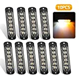 EEEKit Emergency Strobe Lights, Universal 10-Pack 6 LED 18W Surface Mount Amber/White Emergency