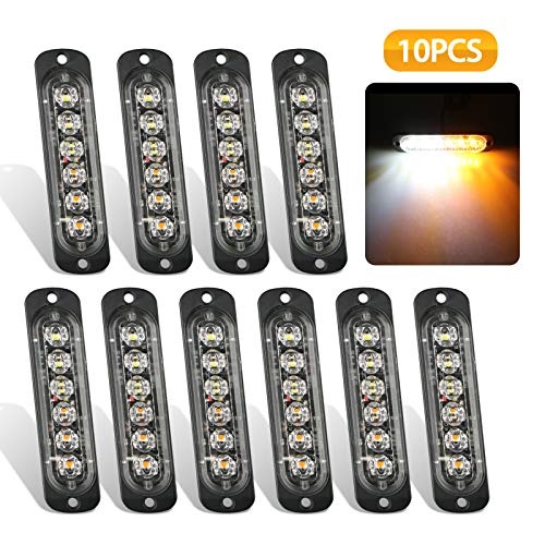 EEEKit Emergency Strobe Lights, Universal 10-Pack 6 LED 18W Surface Mount Amber/White Emergency Warning Hazard Flashing Strobe Light Bar for Off Road Vehicle, ATVs, Truck