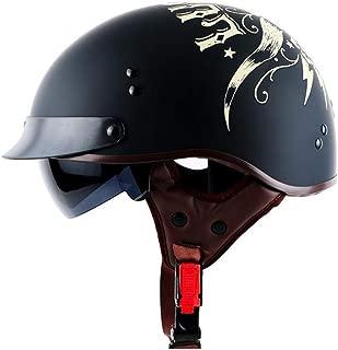 Lxlong Harley Half Helmet with Goggles, Retro Motorbike Helmet DOT Certified, Personality Fashion Safety Helmet, 57-64CM,M