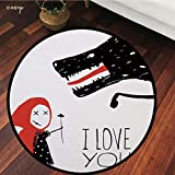 №16126 Round Area Rug Floor Kitchen Carpet, I Love You,Little Girl Giving Flower Bouquet to Wolf Cartoon Fairytale Characters Decorative,Red Charcoal Grey, for Home Decor