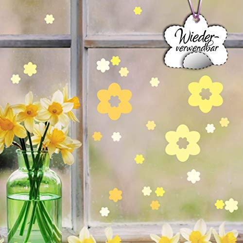 Wandtattoo Loft Fensterbild Frühling Blüten Pastell Ostern Fensteraufkleber wiederverwendbar Pastellfarben