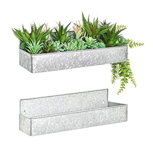Labcosi Farmhouse Hanging Planters, Galvanized Metal Wall Decor, Tin Storage Caddy Organizer, Set of...