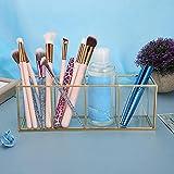 Organizador de soporte de cepillo de maquillaje dorado, 4 ranuras, soporte de cepillo cosmético de vidrio, soporte para lápiz, soporte para herramientas de arte de uñas para tocador(10x2.8x3.6 Inch)