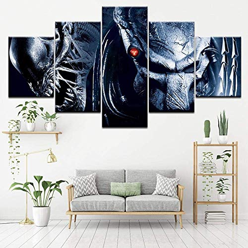 Canvas Painting Alien vs. Predator 2: Requiem 5 Pieces Wall Art Painting Modular Wallpapers Poster Print Living Room Home Decor + Canvas Painting Alien Movie Character Cool Shape 5 Pieces. (ZYJ1011)