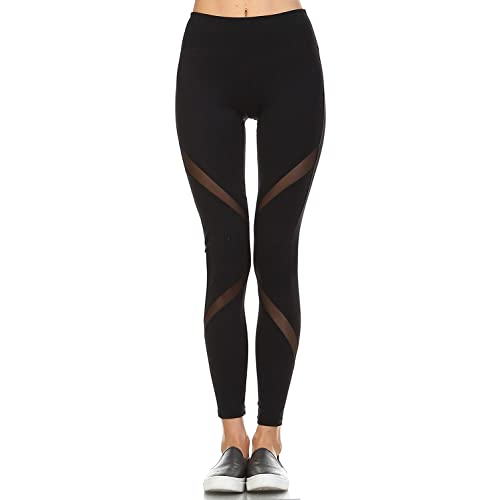 db883bf653d23 Mono B Women's Performance Activewear - Yoga Leggings with Sleek Contrast Mesh  Panels