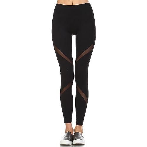 37801d4996ec1 Mono B Women's Performance Activewear - Yoga Leggings with Sleek Contrast  Mesh Panels