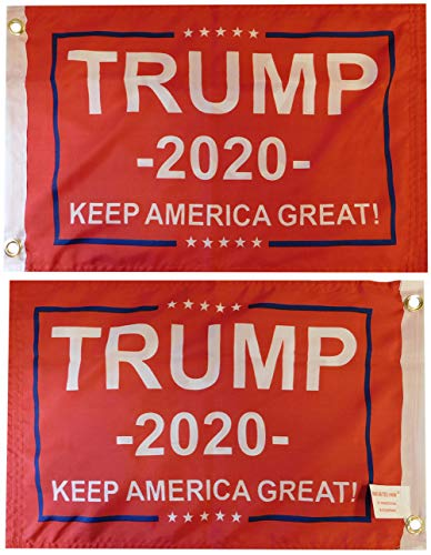 """Trade Winds Trump -2020- Keep America Great! Red Premium Quality Heavy Duty Fade Resistant Double Sided 100D Woven Poly Nylon 12x18 12""""x18"""" Flag Grommets (RUF)"""