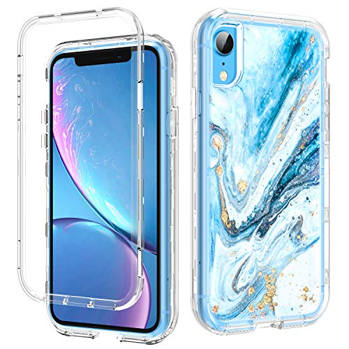 cheap iphone xr cases DOMAVER iPhone XR Cases, iPhone XR Case Marble Three Layer Heavy Duty Hybrid Hard PC Flexible TPU Bumper Shockproof Phone Case Cover iPhone XR Protective Case with Sparkly Blue Marble
