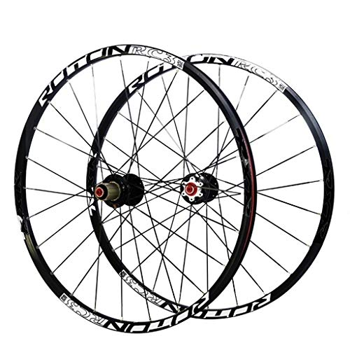 LSRRYD Cycling Wheels 26 27.5 Inch Mountain Bike Wheelset, MTB Cycling Wheels Alloy Double Wall Rim Carbon Ultralight Drum Disc Brake Quick Release Sealed Bearings 7 8 9 10 Speed 24H