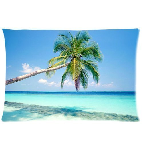 Huirong Pillowcase Design style Sandy Tropical Paradise Beach with Palm Trees and the Sea Ocean (2) Pillow Protector, Best Pillow Cover - standard size 16 X 24 inch One side printing
