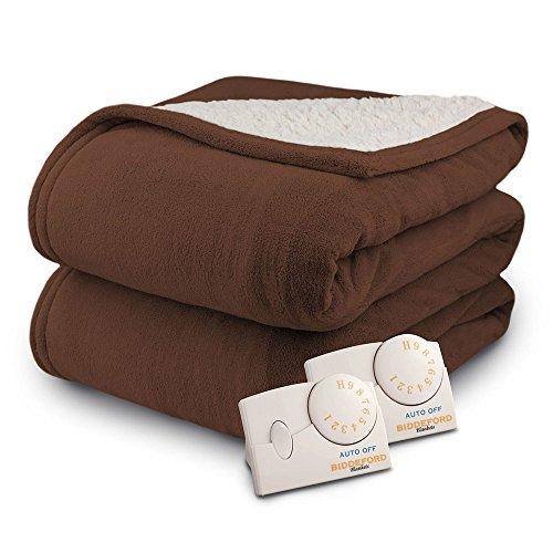 Biddeford Chocolate MicroPlush Sherpa Queen-Size Electric Heated Blanket