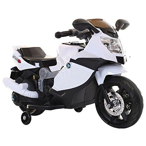 kidfun Moto Motocicletta Elettrica per Bambini 6V Sportiva Bianca