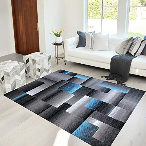 Handcraft Rugs Orange/Black/Gray Abstract Geometric Modern Squares Pattern Area Rug 8 ft. by 10 ft.