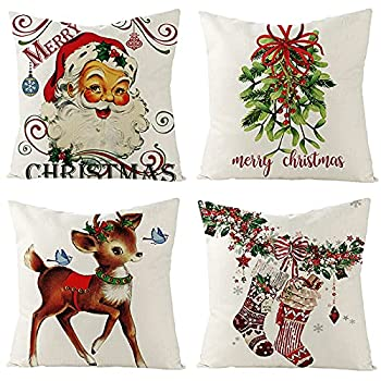 Tosewever Christmas Throw Pillow Covers 18x18 Inches Set of 4 Vintage Farmhouse Xmas Winter Decorations Couch Pillowcase Cotton Linen Cushion Case for Room Bed Sofa Home  18  x 18  Red Stocking