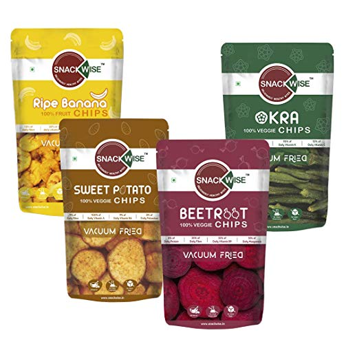 SnackWise 100% Vegetable and Fruit Vacuum Fried Chips Okra...