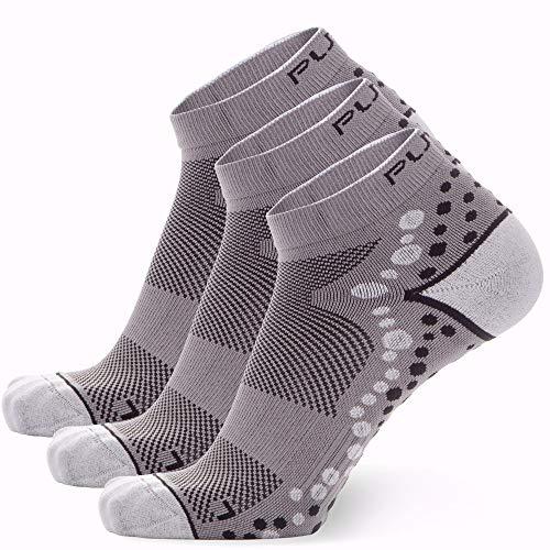 Ultra-Comfortable Running Socks - Anti-Blister Dot Technology, Moisture Wicking (3 Pairs - Grey/Black, Small/Medium)