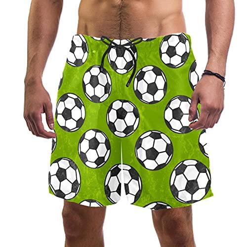 Nananma Traje de baño de fútbol verde para hombre, talla L, multicolor, XS/S