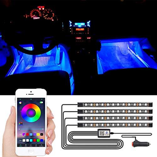 SEAMETAL LED Innenbeleuchtung Auto,4pcs 48LED Auto LED Strip, Upgrade Ambientebeleuchtung Auto Streifen (APP)