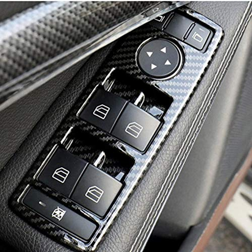 Blossion 5pcs Coche automático de Carbono Ventana de Fibra Interruptor de botón Marco de moldura de la Cubierta for Mercedes Benz A B C E CLA GLA GLK ML GLE Clase W204