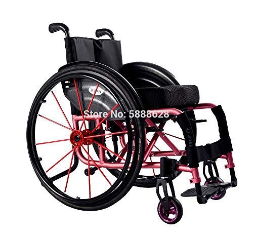ZJN-JN Silla de Ruedas Aire Libre Plegable de Silla de Ruedas Deportivas para Ancianos y discapacitados sin Shock (Color : Pink)