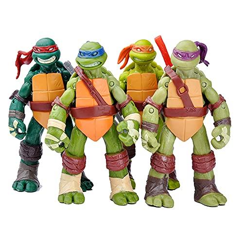 TREEMEN Teenage Mutant Ninja Turtles Figura, Tortugas Ninja Sets, Acción Modelo de Personaje Colección de Cumpleaños para Niños,Cadeau de vacances-12 cm
