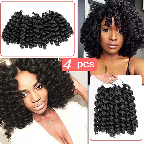 Beauty Angelbella 8 inch Short Curly Jamaican Bounce Crochet Hair, Twist Braids Wand Curl Hair African Collection Synthetic Crochet Braiding Hair Extensions Black(pack of 4)