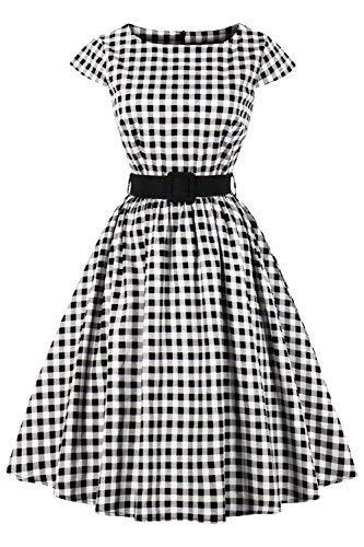 abito donna quadretti Axoe - Abito da donna anni '50 Audrey Hepburn vintage rockabilly
