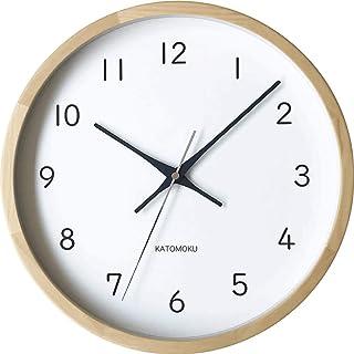 KATOMOKU muku clock 13 ヒノキ 電波時計 連続秒針 km-104HIRC φ306mm (電波時計)