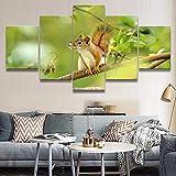 HD Impreso Pintura Lienzo Decorativo para el hogar 5 Panel Animal Squirrel Draw Wall Art Imágenes modulares para sala de estar o dormitorio