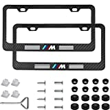 2pcs Newest Matte Aluminum Alloy M Logo License Plate Frame, with Carbon Fiber Textured Glossy Finish Logo,with Screw Caps Cover Set Suit,Applicable to US Standard car License Frame, for BMW M.