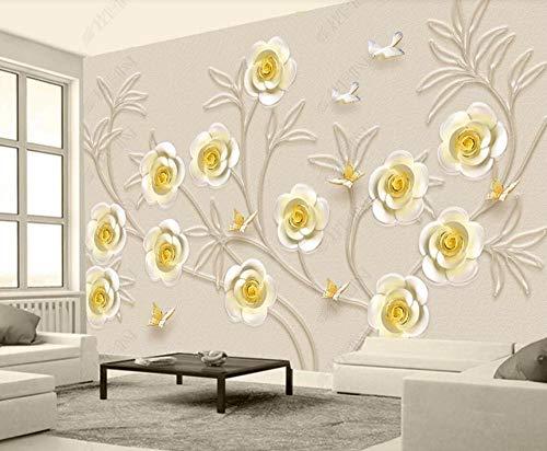 Papel Pintado 3D Joyas De Pájaros Con Flores Doradas Fotomurale 3D Tv Telón De Fondo Pared Decorativos Murales Moderna