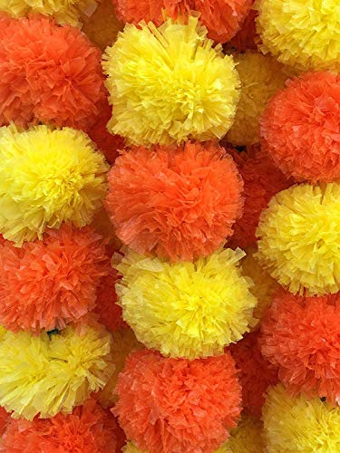 Amroha Crafts 5 PC - 5 feet Orange-Yellow Marigold Garland |Indian/American Wedding Party Mantle Decoration, Faux Garlands Wedding Garland, Diwali Decoration, Spring Bush Floral!