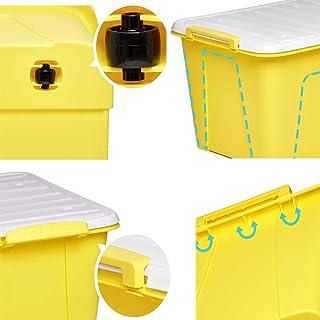MU Boîte de Rangement portative à Usage Domestique en Bois Massif, Grande boîte en Plastique à vêtements en Trois pièces d...