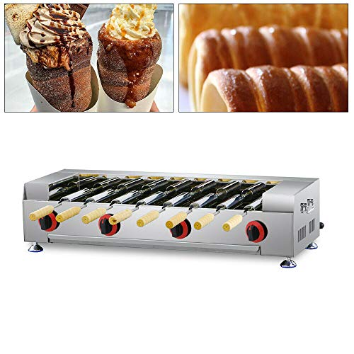 LPG Gas Chimney Cake Oven – Chimney Cake Oven Maker Kurtos Kalacs Oven Grill Machine Equipment Roll Grill Desktop Kurtos Kalacs Machine for Restaurant Food Service with 8pcs Roller Bar