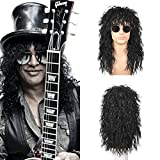 MORYDA Long Curly Heat resistant synthetic fiber Wig with Punk Style A Retro 1980s-Style Wig heavy metal Style for Halloween Party Use(Black)