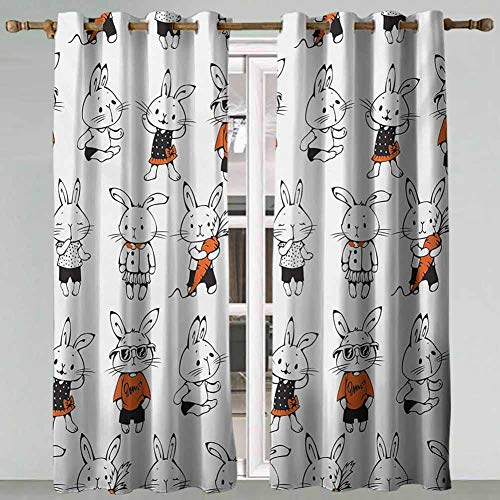 Noise Reducing Curtains Funny Cute Retro Bunny Rabbits with Costumes Jack Hare Funky Bunnies Carrot Sketch Style Orange White Set of 2 Panels 63x72 Inch