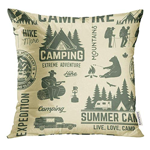 Pillow Cover Summer Camp Retro With Rv Trailer Tent Mountain Campfire Hiker And Forest Silhouette For Camping Hiking 20X20Inches Pillowcase