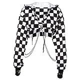 Women Plaid Casual Streetwear Sweatshirt Hoodie Crop Top Jumper Pullover Chain Stitching Short Loose Sweatshirt-Black and white plai-M