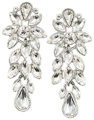 Happiness Boutique Damas Pendientes Llamativos en Color Plata | Pendientes de Flor con Diamantes de Imitación Blancos
