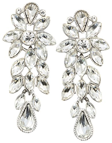 Happiness Boutique Damen Statement Ohrringe in Silberfarbe   Auffällige Ohrringe Blumen aus Strass in Weiß