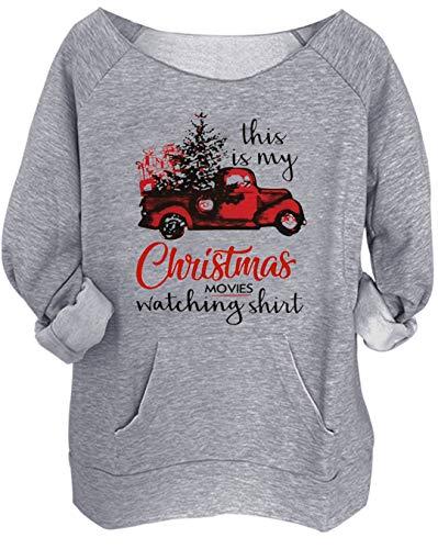Christmas Movies Watching Shirt Sweatshirt Xmas Truck Women Off Shoulder Sweatshirt Slouchy Sexy Long Sleeve Pullover Tops (Grey, L)