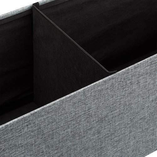 Relaxdays Faltbare Sitzbank XL HBT 38 x 114 x 38 cm stabiler Sitzcube mit praktischer Fußablage als Sitzwürfel aus Leinen als Aufbewahrungsbox mit Stauraum und Deckel zum Abnehmen für Wohnraum, grau - 7