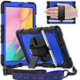 Timecity Samsung Galaxy Tab A 10.1 2019 Case,ONLY FIT (SM-T510/T515/T517), Full-Body Drop Proof Case with Rotating Hand Strap Stand Screen Protector Pencil Holder for Samsung Tab A 10.1 - Dark Blue