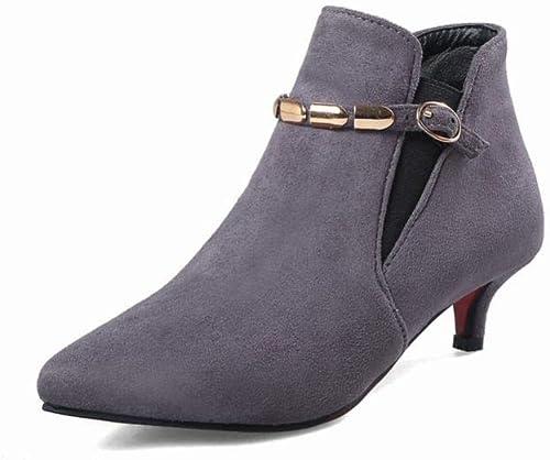 ZHRUI Calzado de damen - Stiefel cálidas para damen de otoño e Invierno Stiefel Martin schuhe de Moda con Estilete   34-40 (Farbe   grau, tamaño   EU 40)
