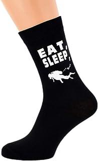 Eat Sleep Scuba Diving with Diver Image Design Mens Black Cotton Rich Socks