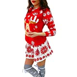Auifor Moda Feliz Navidad O-Cuello del Copo de Nieve de Navidad Elk Imprimir Manga Larga Mini Vestido(Rojo/Medium)